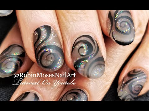 Matte Black Swirl Nails | Elegant Holo Hand painted Nail Art Design Tutorial