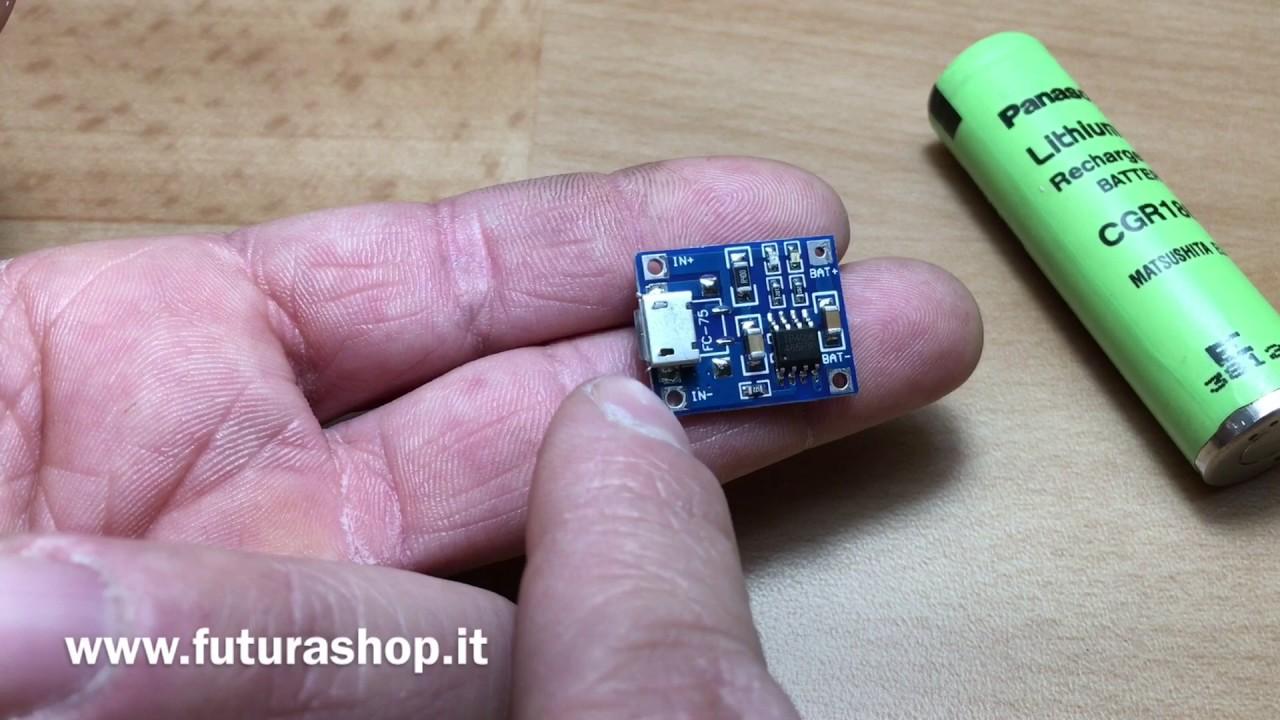 Schema Elettrico Per Carica Batterie Al Litio : Modulo ricarica usb per batterie al litio youtube