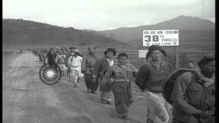 korean war withdrawal of united nations forces over 38th parallel hd stock footage