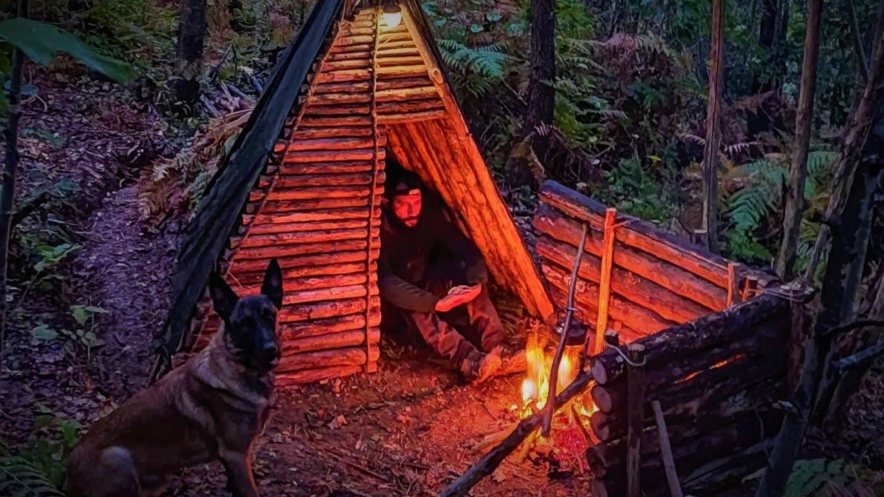 Overnight Bushcraft Shelter Camping in a THUNDER STORM - Forest Camp | Survival Skills DIY ASMR