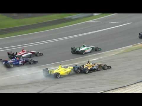 Indy Lights 2017. Race 1 Barber Motorsports Park. Start Crash