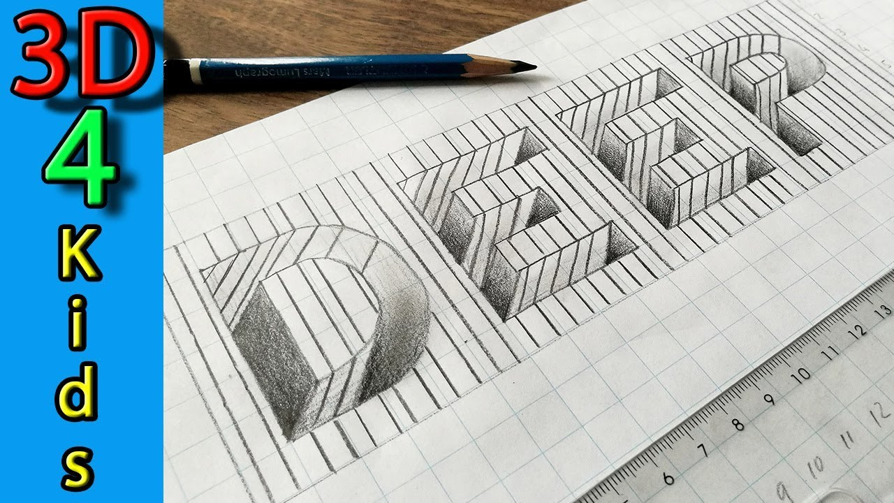 Drawing hole in line paper 3d trick art word deep