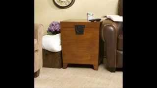 Oak Pyramid Trunk End Table; Wood Side Tables, Wood End Table