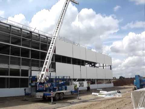 Trailer Crane Lifting Cladding Panels Or Composite Panels