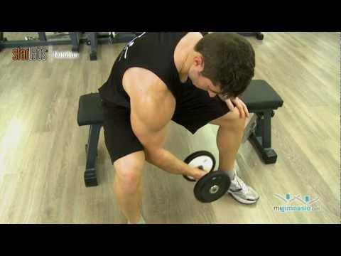 Ejercicio concentrado de curl con mancuernas para bíceps
