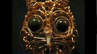 Spooky-Eyed Owl Wire Sculpture
