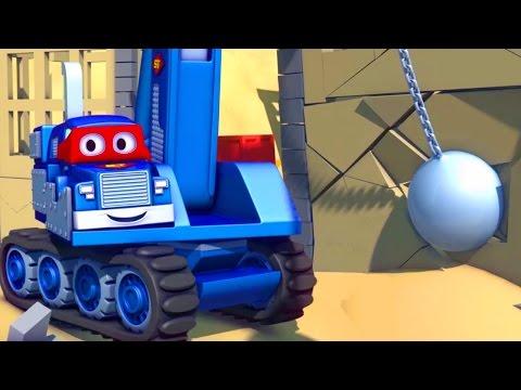 Carl el Super Camión y la Grúa Demoledora en Auto City   Dibujos animados para niños