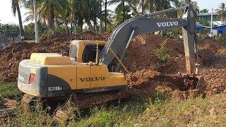 Excavator VOLVO EC210BLc at Work - Construction Machinery in Cambodia