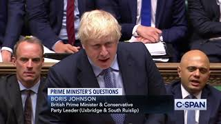Exchange between Prime Minister Boris Johnson and Labour leader Jeremy Corbyn on Brexit