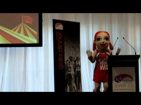 NSWSwiftsTV - Sporty Swift visits the 2011 NSW Swifts Gala Dinner