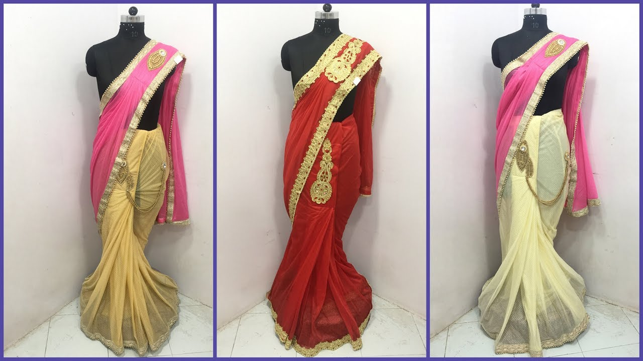5134d21f6b latest designer one minute saree with embroidery for wedding and bridal  purpose at wholesale price