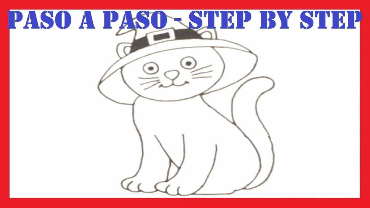 Como dibujar un gato con sombrero de bruja l How to draw a cat with ...