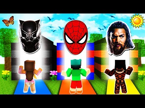 Minecraft - DO NOT Choose the Wrong Dimension - SPIDERMAN, AQUAMAN & BLACK PANTHER