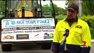 Backhoe Guinness World Record Solo Trip For 'It's NOT Your Fault 4 Kids