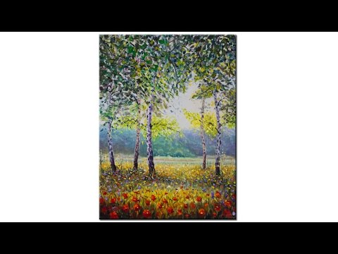 Buy oil painting Birch trees among flowers — Oil Painting By artist Valery Rybakow