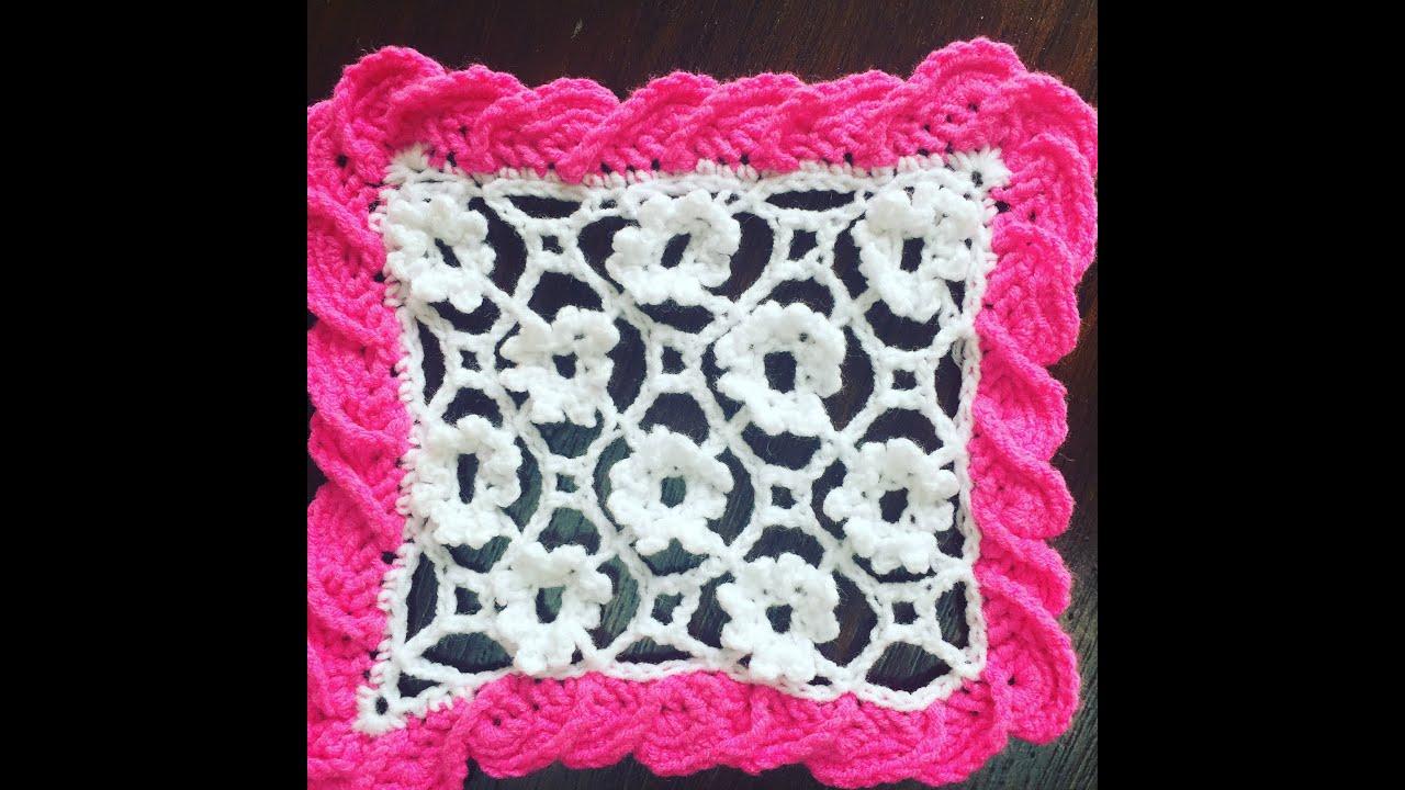 Crochet lace pattern - irish crochet filling stitch - 3 - YouTube