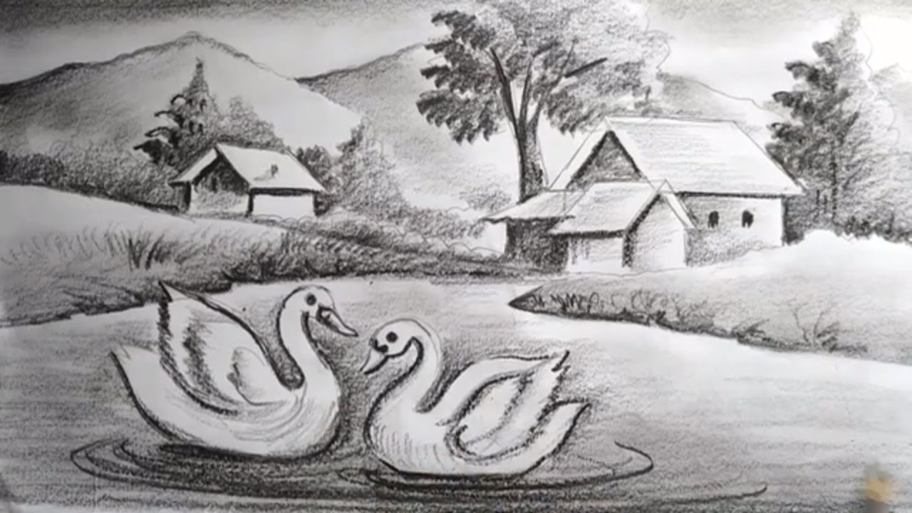 how to draw easy pencil sketch scenery for kids,landscape ...