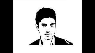 How to Draw Farhan Akhtar face pencil drawing step by step