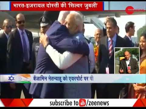 PM Modi welcomes Israeli PM Benjamin Netanyahu at airport