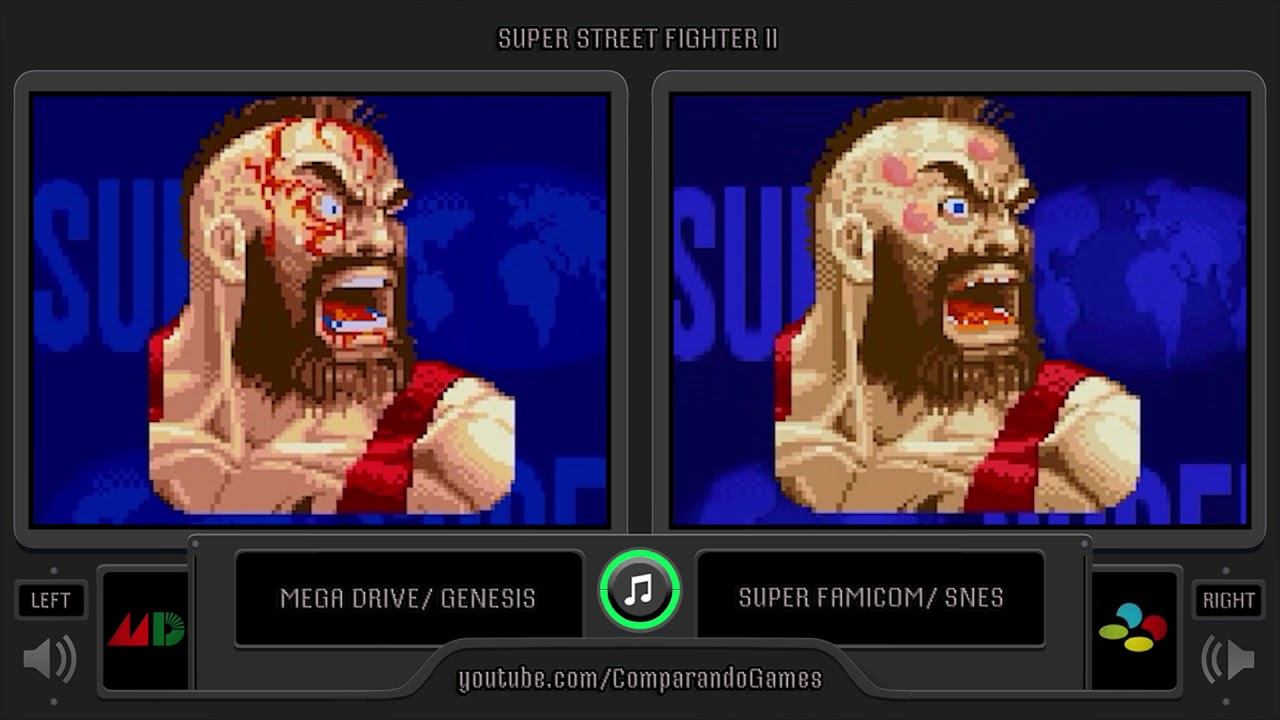 Portrait Comparison Of Super Street Fighter Ii Sega Genesis Vs Snes Side By Side Comparison Youtube