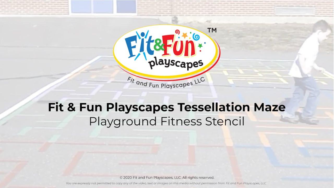 Fit Fun Playscapes Tessellation Maze Playground Fitness Stencil - Playground stencils