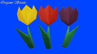 Как сделать цветы из бумаги. Оригами тюльпан.