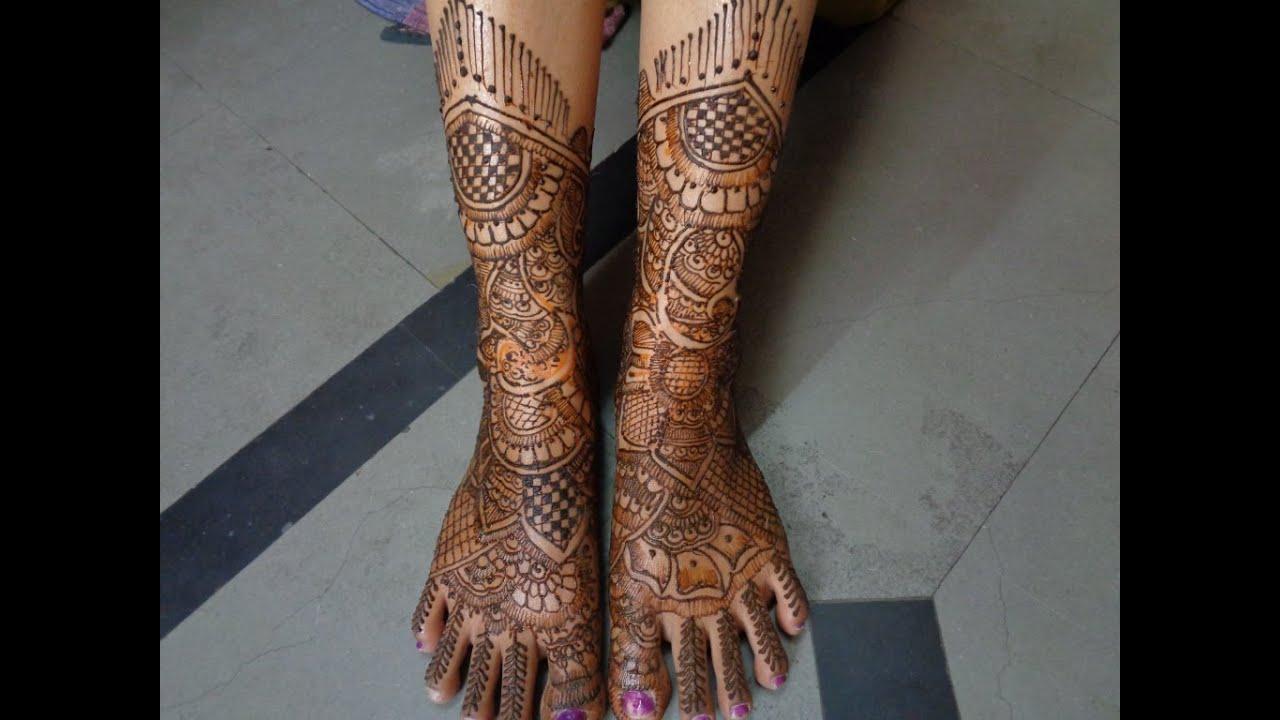 Bridal Leg Mehndi Images : Bridal mehndi designs for hands marriage part k youtube