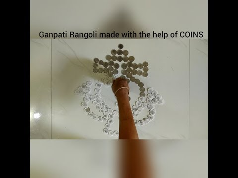 Ganpati Rangoli made with the help of COINS | Mom's Talent |