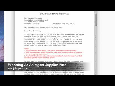Exporting As An Agent Supplier Pitch