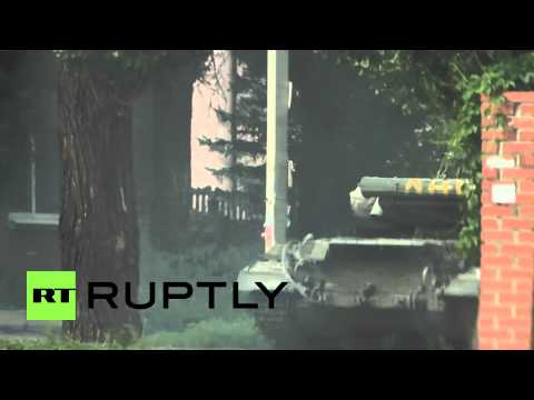 Ukraine: Rocket-launcher equipped Lugansk People's Republic forces close to Kiev-controlled airport