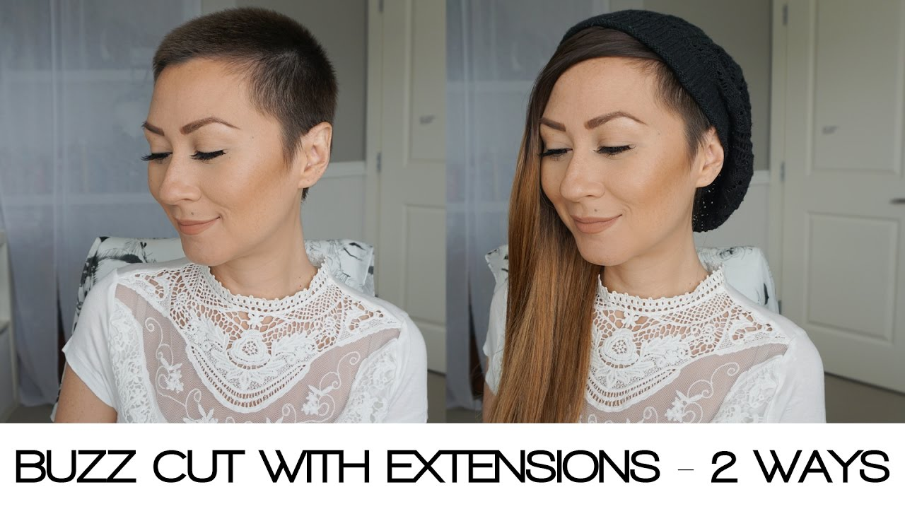 EXTENSIONS WITH A BUZZ CUT 2 DIFFERENT WAYS YouTube