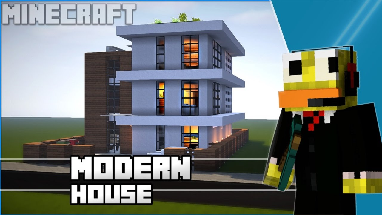 Minecraft Easy Modern House Modern Town House Tutorial