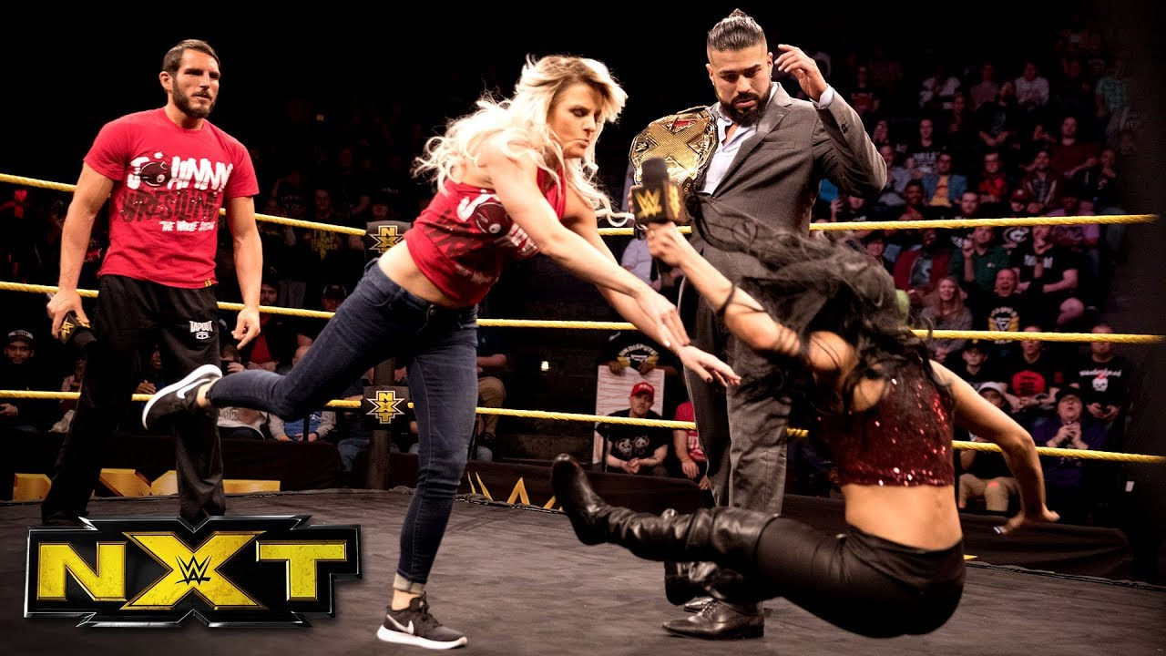 LeRae stands by Gargano's side as Almas & Vega confront Johnny Wrestling: WWE NXT, Feb. 7, 2018
