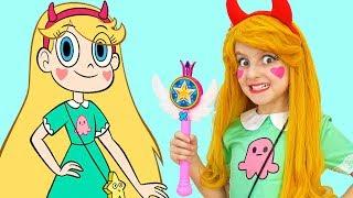 Elsa transforms into Princess Star   Dress up and Makeup by Super Elsa