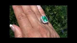 Muzo Mined 7.44 Carat Genuine Colombian Emerald & Diamond Ring