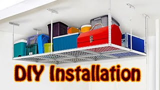 DIY Fleximounts Overhead Garage Adjustable Ceiling Storage Rack Installation Joist Not 24