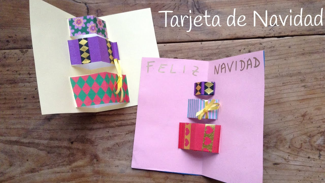 Tarjetas de navidad en 3d de regalos manualidades - Como hacer tarjetas de navidad faciles ...