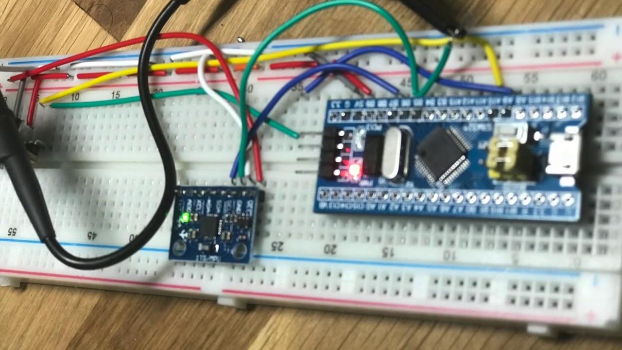 hight resolution of debug i2c communication from mpu6050 to stm32f103c8t6 using hantek 6022be usb oscilloscope