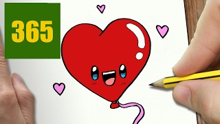 HOW TO DRAW A BALLOON IN LOVE CUTE, Easy step by step drawing lessons for kids