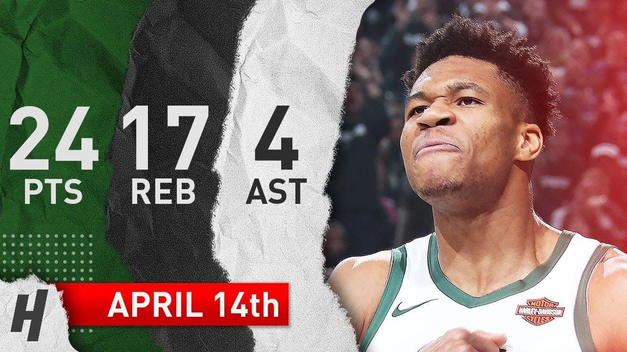 Giannis Antetokounmpo Game 1 Highlights Bucks vs Pistons 2019 NBA Playoffs - 24 Pts, 17 Reb, 4 Ast!