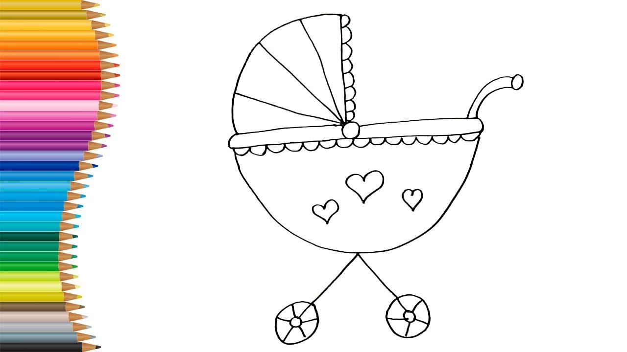 como desenhar e colorir carrinho de bebe desenho para crianas