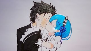 SUBARU & REM (Anime Kiss Drawing) Re:Zero - Starting Life in Another World