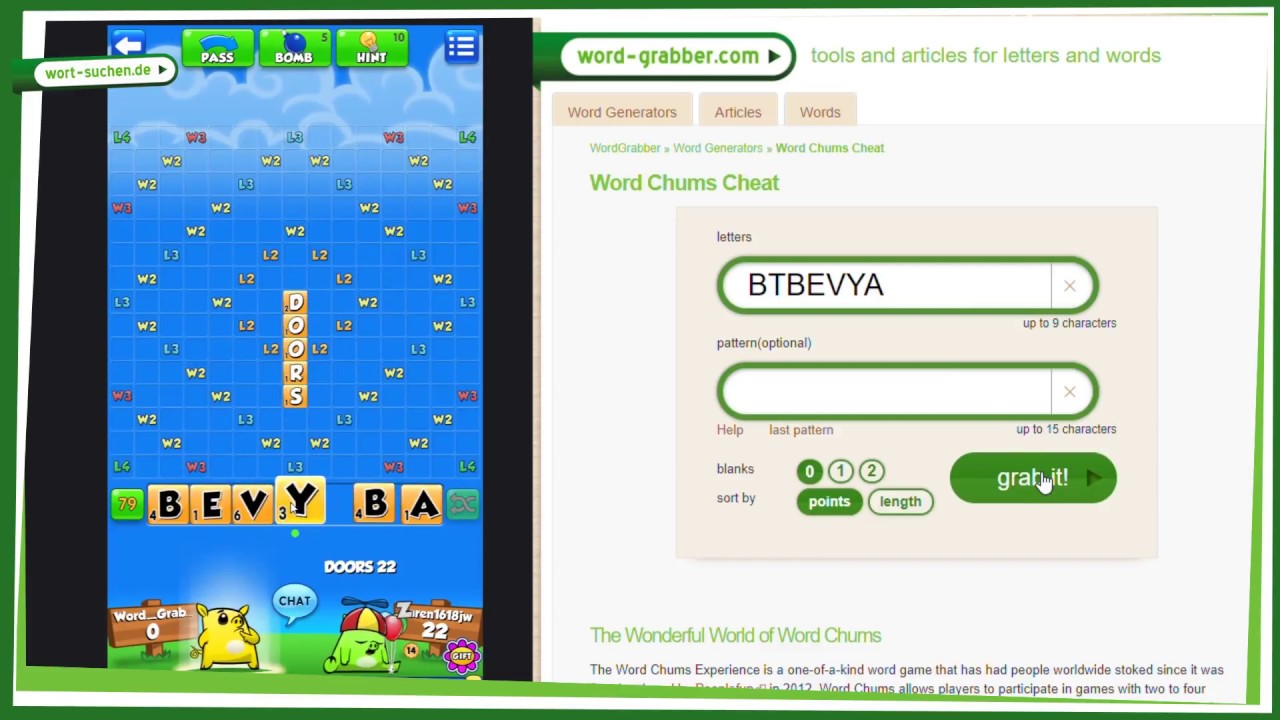 ᐅ Word Chums CHEAT | Generator for the BEST WORDS