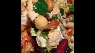 Easy Quick Healthy Spicy 3 Beans With Chicken Salad.