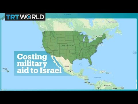 The interactive map shows the states' share of US military aid to Israel
