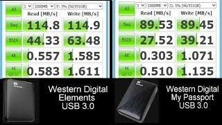 WD Elements vs My Passport USB3.0: Speed Test (Read/Write MB/s)