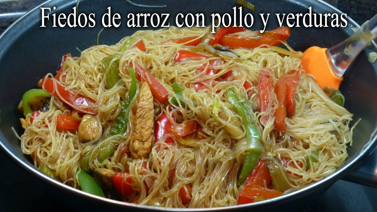 Fideos de arroz con pollo y verduras  YouTube
