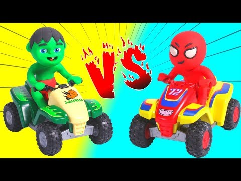 SUPERHERO BABIES AND THE MOTO QUAD RACE ❤ SUPERHERO BABIES PLAY DOH CARTOONS FOR KIDS - 동영상