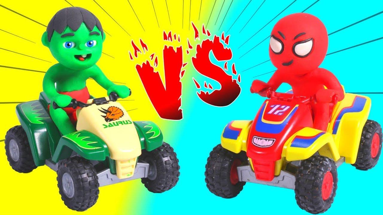 SUPERHERO BABIES AND THE MOTO QUAD RACE ❤ SUPERHERO BABIES PLAY DOH CARTOONS FOR KIDS