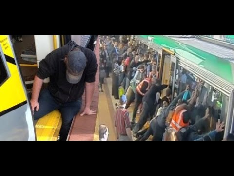 Image result for train passengers help man stuck under the train